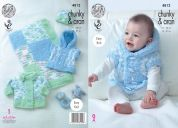King Cole Baby Jacket, Gilet, Hat & Blanket Cuddles & Comfort Knitting Pattern 4812  Aran, Chunky