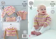 King Cole Baby Cardigans & Sweaters Candystripe Knitting Pattern 4813  DK
