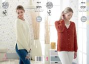 King Cole Ladies Sweater & Cardigan Fashion Knitting Pattern 4815  Aran