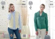 King Cole Ladies Jacket & Waistcoat Fashion Knitting Pattern 4818  Aran