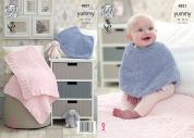 King Cole Baby Poncho & Blanket Yummy Knitting Pattern 4821  Chunky