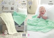 King Cole Baby Blankets Yummy Knitting Pattern 4822  Chunky