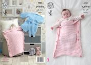 King Cole Baby Robe & Sleeping Bag Knitting Pattern 4823  Chunky