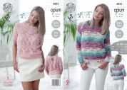 King Cole Ladies Sweaters Opium Knitting Pattern 4825
