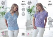 King Cole Ladies Tops Opium Knitting Pattern 4826