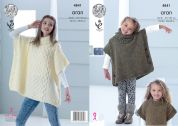 King Cole Girls Tabard Top Fashion Knitting Pattern 4841  Aran