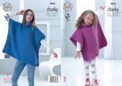 King Cole Girls Tabards Top Big Value Knitting Pattern 4842  Chunky