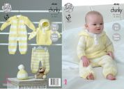 King Cole Baby All In One, Hoody, Pants & Hat Big Value Knitting Pattern 4846  Chunky