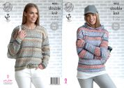 King Cole Ladies Sweater & Hoodie Drifter Knitting Pattern 4853  DK