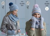King Cole Ladies Snoods, Hats & Mitts Baby Alpaca Knitting Pattern 4869  DK