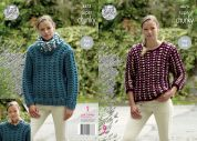 King Cole Ladies Sweaters & Cowl Big Value Knitting Pattern 4875  Super Chunky
