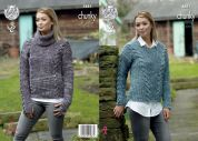 King Cole Ladies Sweaters Big Value Tonal Knitting Pattern 4881  Chunky
