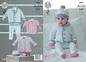King Cole Baby Jacket, Cardigan, Matinee Coat & Hat Smarty Knitting Pattern 4886  DK