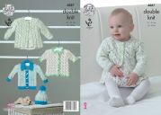 King Cole Baby Matinee Coat, Cardigans & Hat Smarty Knitting Pattern 4887  DK