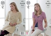 King Cole Ladies Tunic Top & Cardigan Authentic Knitting Pattern 4893  DK
