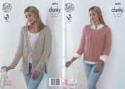 King Cole Ladies Sweater & Cardigan Authentic Knitting Pattern 4894  Chunky