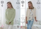 King Cole Ladies Sweater & Jacket Authentic Knitting Pattern 4895  Chunky