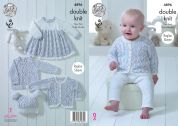 King Cole Baby Dress, Cardigan, Sweater & Hat Cherish Dash Knitting Pattern 4896  DK