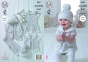 King Cole Baby Dress, Hoodie, Top, Hat & Leggings Cherish Dash Knitting Pattern 4897  DK