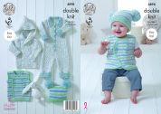 King Cole Baby Coat, Waistcoat, Onesie & Hat Cherish Dash Knitting Pattern 4898  DK