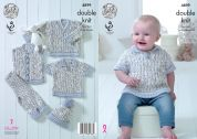 King Cole Baby Sweater, Top, Waistcoat & Trousers Cherish Dash Knitting Pattern 4899  DK