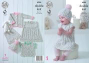 King Cole Baby Dress, Top, Cardigan, Shorts & Hat Cherish Dash Knitting Pattern 4900  DK