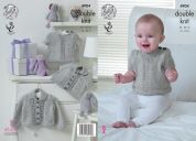 King Cole Baby Cardigans & Sweater Baby Pure Knitting Pattern 4904  DK