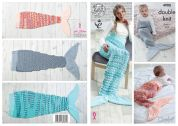 King Cole Baby, Girls & Ladies Mermaid Blankets Crochet Pattern 4908  DK