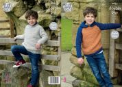 King Cole Childrens Sweater & Hoodie Majestic Knitting Pattern 4922  DK