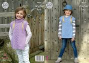 King Cole Girls Tabards Majestic Knitting Pattern 4927  DK