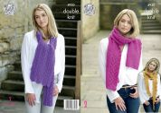 King Cole Ladies Scarves Majestic Knitting Pattern 4930  DK