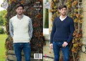 King Cole Mens Sweater & Slipover Luxury Merino Knitting Pattern 4939  DK