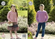 King Cole Girls Cardigan & Sweater Luxury Merino Knitting Pattern 4941  DK
