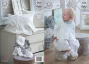 King Cole Baby Matinee Coat, Bonnet, Bootees & Mittens Comfort Knitting Pattern 4944  4 Ply