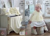 King Cole Baby Jacket, Bonnet, Mittens, Bootees & Blanket Comfort Knitting Pattern 4946  DK