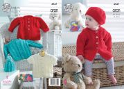 King Cole Baby Jackets, Hats & Cardigan Comfort Knitting Pattern 4947  Aran