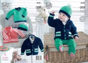 King Cole Baby Jackets, Hat & Sweater Comfort Knitting Pattern 4948  Aran