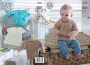 King Cole Baby Sweater, Cardigan & Dress Comfort Knitting Pattern 4950  Aran