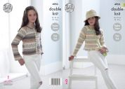King Cole Girls Cardigan & Sweater Splash Knitting Pattern 4953  DK