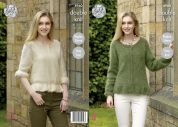 King Cole Ladies Sweater & Cardigan Embrace Knitting Pattern 4960  DK