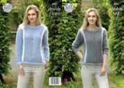 King Cole Ladies Sweater & Cardigan Embrace Knitting Pattern 4961  DK