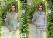 King Cole Ladies Sweaters & Scarves Embrace Knitting Pattern 4962  DK