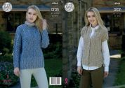 King Cole Ladies Sweater & Gilet Fashion Combo Knitting Pattern 4964  Aran