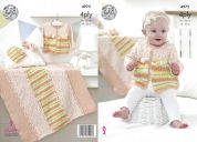 King Cole Baby Jacket, Hat, Shoes & Blanket Big Value Baby Spot & Print Knitting Pattern 4975  4 Ply
