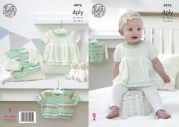King Cole Baby Dress & Cardigans Big Value Baby Spot & Print Knitting Pattern 4976  4 Ply