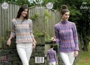 King Cole Ladies Sweaters Cotswold Knitting Pattern 4980  Chunky