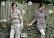 King Cole Ladies Sweaters Cotswold Knitting Pattern 4981  Chunky