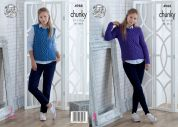 King Cole Ladies Sweater & Slipover Big Value Knitting Pattern 4988  Chunky