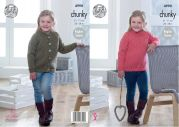 King Cole Girls Sweater & Cardigan Big Value Knitting Pattern 4990  Chunky
