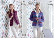 King Cole Ladies Jacket & Waistcoat Corona Knitting Pattern 4991  Chunky
